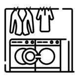 Wasserij, kleren die en pictogram wassen strijken vector illustratie