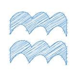 Aquarius, 21 January - 19 February. HOROSCOPE SIGNS OF THE ZODIAC - Ballpen blue Scribble on a white background.  stock illustration