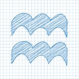 Aquarius, 21 January - 19 February. HOROSCOPE SIGNS OF THE ZODIAC - Ballpen blue Scribble on a checkered paper background.  stock illustration