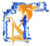 wassermann Junge barf??igfrau mit dem roten Haar in einem blauen Kleid gie?t Wasser von einer Schale als Symbol des Sternzeichen  lizenzfreie abbildung