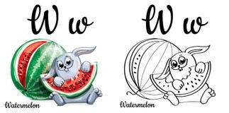 wassermelone Alphabetbuchstabe W, Färbungsseite Lizenzfreie Stockbilder