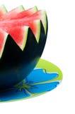 Wassermelone auf der Platte - weißer Hintergrund stockfoto