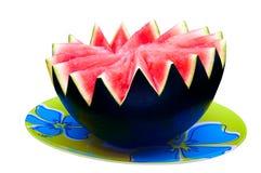 Wassermelone auf der Platte - weißer Hintergrund stockfotografie