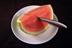 Wassermelone betriebsbereit gedient zu werden Lizenzfreie Stockbilder