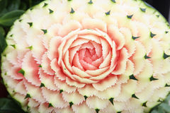 Wassermelone Carvings in der thailändischen eindeutigen Fähigkeit Stockbilder