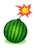 Wassermelone in der Form der Bombe mit brennendem Docht Element des Designs für Verkauf Promo, Netzfahnen Wassermelonenhintergrun Stockbilder