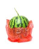 Wassermelone in der Plastiktasche lokalisiert auf weißem Hintergrund Lizenzfreies Stockbild