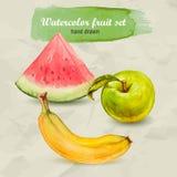 Wassermelone, grüner Apfel und Banane Gezeichneter Fruchtsatz des Vektoraquarells Hand Lizenzfreie Stockfotos