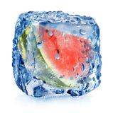Wassermelone im Eiswürfel Lizenzfreie Stockfotos