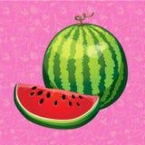 Wassermelone mit einer Scheibe schnitt auf Farbhintergrund Vektor illustra Lizenzfreie Stockfotos