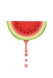 Wassermelone mit fallenden Safttropfen. lizenzfreies stockfoto
