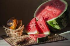 Wassermelone mit Rollen Stockfotografie