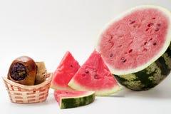 Wassermelone mit Rollen Lizenzfreie Stockfotos