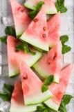 Wassermelone schneidet Eiswürfel der tadellosen Blätter auf Weinlesesilbertablett stockbild