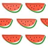 Wassermelone schneidet nahtloses Muster Flache Illustration des Vektors Lizenzfreie Stockfotografie