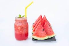 Wassermelone Smoothieerfrischung geschmackvoll vom Sommer, das Gesundheit benefi lizenzfreies stockbild