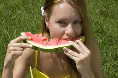 Wassermelonefreude Stockfoto