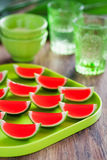 Wassermelonekalk jello Schüsse Lizenzfreie Stockfotos