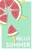Wassermelonen-Eis am Stiel über hallo Sommer-Mitteilungs-Grün-Plakat lizenzfreie abbildung