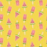 Wassermelonen-Eiscreme-nahtlose Muster-Hintergrund-Vektor-Illustration Stockfotos