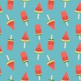 Wassermelonen-Eiscreme-nahtlose Muster-Hintergrund-Vektor-Illustration Stockfoto
