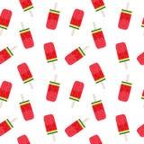 Wassermelonen-Eiscreme-nahtlose Muster-Hintergrund-Vektor-Illustration Lizenzfreie Stockfotografie