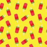 Wassermelonen-Eiscreme-nahtlose Muster-Hintergrund-Vektor-Illustration Lizenzfreie Stockfotos