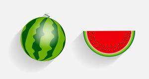 Wassermelonen-Ikonen mit langem Schatten-Vektor Lizenzfreie Stockfotos