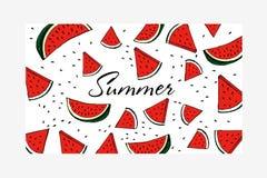 Wassermelonen-Muster-gestreifte Vektor-Illustration Stockfotos