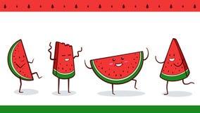 """Wassermelonen-Partei †""""Vektorsatz von vier Wassermelonencharakteren, die zusammen tanzen Lizenzfreies Stockbild"""