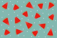 Wassermelonen pawatermelons Muster auf grünem Hintergrund und Weiß lizenzfreie abbildung