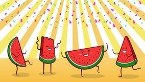 """Wassermelonen-Sommerfest †""""Gruppe Tanzens mit vier des glücklichen Wassermelonencharakteren Lizenzfreies Stockbild"""