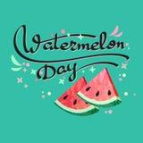 Wassermelonen-Tagesplakat Vektor Stockbilder
