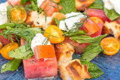 Wassermelonen-Tomate Panzanella Lizenzfreie Stockfotos