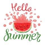 Wassermelonen und Beschriftungshallo Sommer Stockfotos