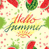 Wassermelonen und Beschriftungshallo Sommer Stockfotografie