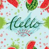 Wassermelonen und Beschriftungshallo Sommer Stockbilder