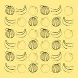 Wassermelonenbanane und -pfirsich Stockfotografie