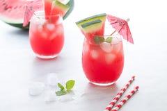 Wassermelonencocktail mit Zitrone und Minze Auffrischungsnahes hohes der limonade Stockfotografie