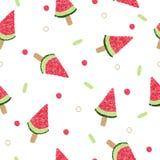 WassermelonenEiscreme auf nahtlosem Muster des Stockes Lizenzfreie Stockfotos