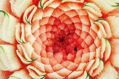 Wassermelonenfrucht, die Beschaffenheit und Hintergrund schnitzt Lizenzfreies Stockbild