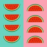 Wassermelonenfrucht-Ikonensatz Rote Scheibe mit Samen in Folge Schneiden Sie Hälfte Gesundes Lebensstillebensmittel Flaches Laged lizenzfreie abbildung