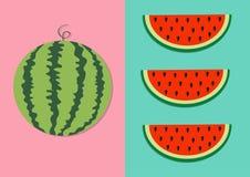 Wassermelonenfrucht-Ikonensatz Runde Wassermelone Rote Scheibe mit Samen in Folge Schneiden Sie Hälfte Gesunde Nahrung Flaches La vektor abbildung