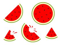 Wassermelonenikonen - Vektorsatz Vektorwassermelone Scheibenfrucht lokalisiert stockbilder