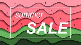 Wassermelonenpapier schnitt Hintergrund in den roten und grünen Farben lizenzfreie abbildung