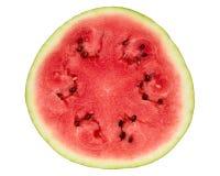 Wassermelonenquerschnitt auf Weiß Stockbild