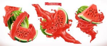 Wassermelonensaft Vektorikone der frischen Frucht 3d lizenzfreie abbildung