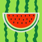Wassermelonenscheiben-Aufkleberikone Flaches Design Schneiden Sie halbe Samen Rotes Fruchtbeerenfleisch Natürliche gesunde Nahrun lizenzfreie abbildung