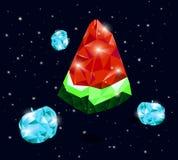 Wassermelonenscheiben von den geometrischen Gegenständen, die in Raum fliegen Stockfotos