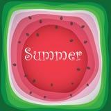 Wassermelonenscheibenhintergrund mit Samen- und Hautbeschaffenheit Lizenzfreies Stockfoto
